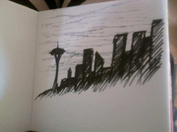 Seattle Skyline Drawing Seattle Skyline Sketch of