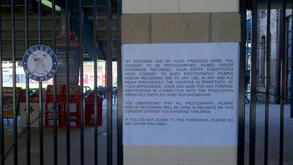 Disclaimer for filming at the ballpark